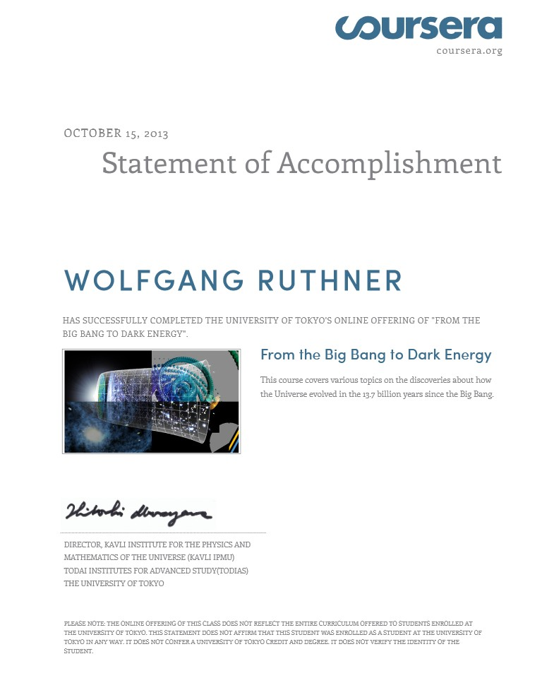 Statement of Accomplishment: The University of Tokyo - From the Big Bang to Dark Energy