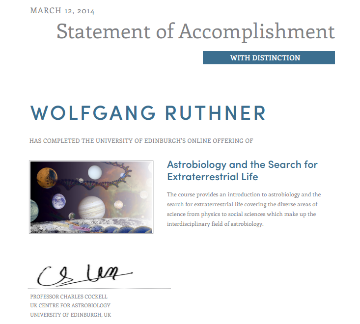 Zertifikat Astrobiologie März 2014