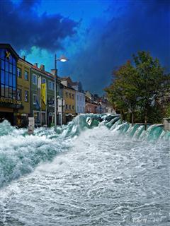 Flutwelle in Amstetten