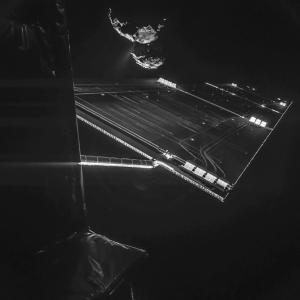 Rosetta Selfie ca. 16km vom Kometen. (7.10.2014) Photo: ESA; Photo: ESA/Cluster; Image: ESA/NASA - SOHO/LASCO