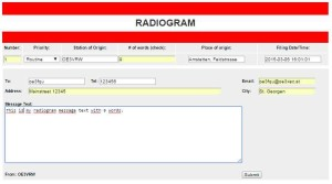 Radiogram Eingabeformular